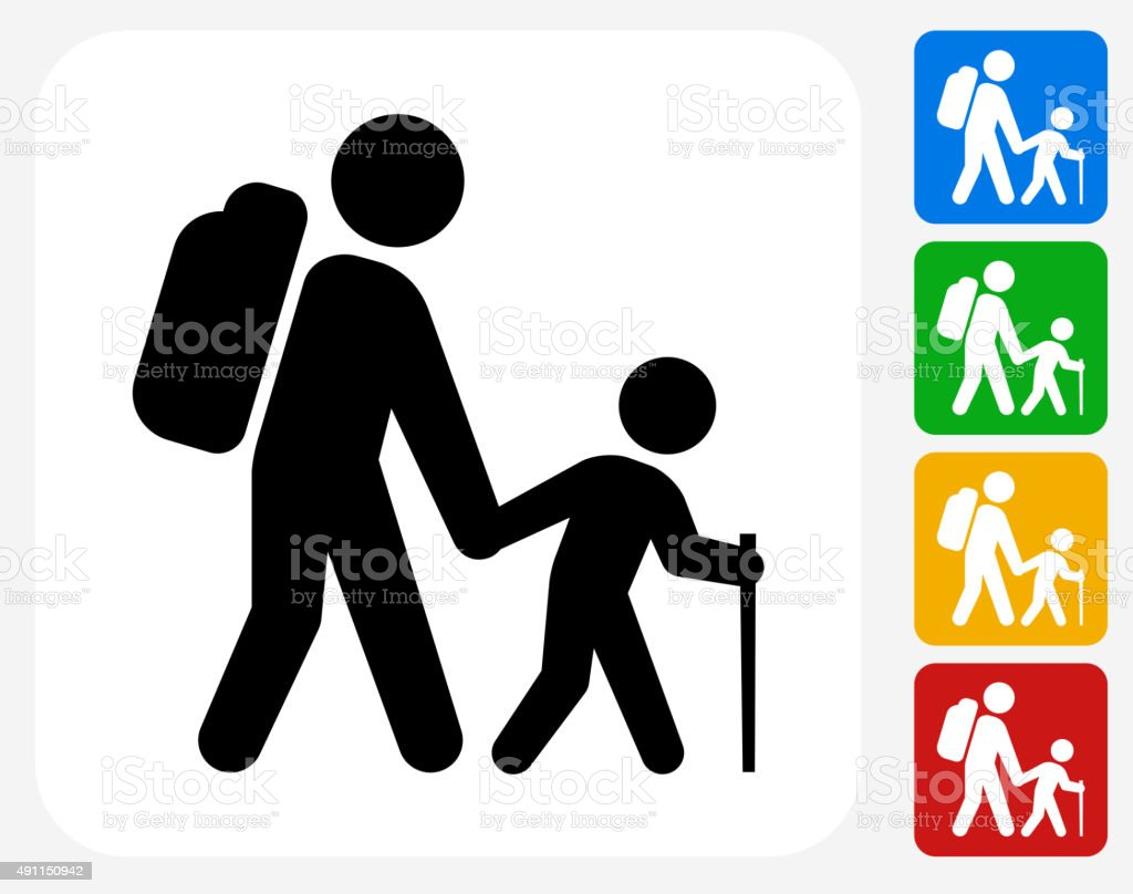 Hiking Family Icon Flat Graphic Design vector art illustration