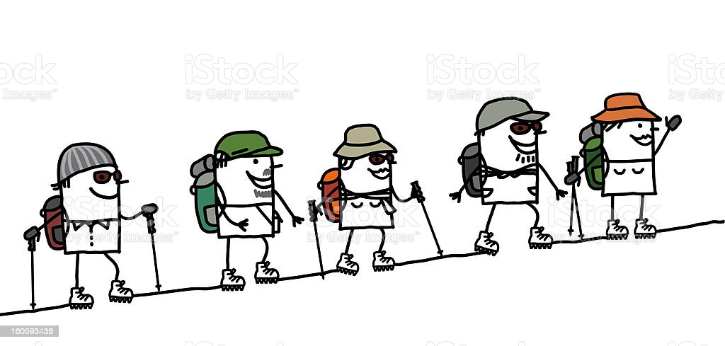 Hiking group in the mountain vector art illustration