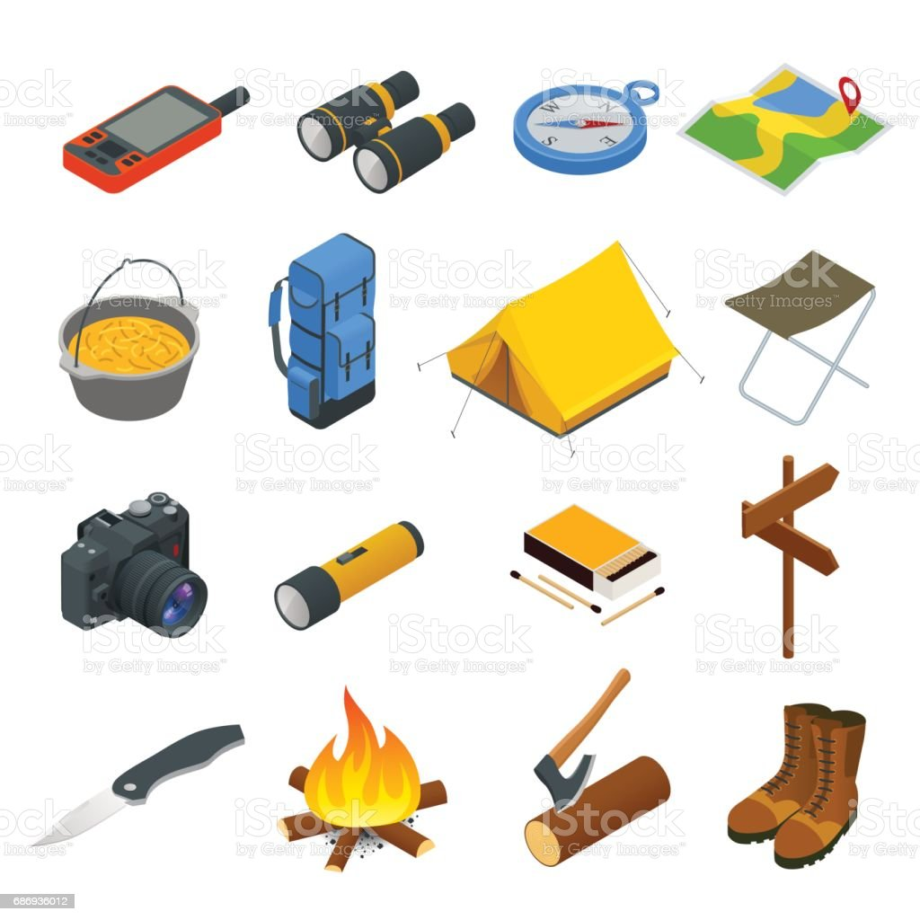 Hiking icons set. Camping equipment vector collection. Binoculars, bowl, barbecue, boat, lantern, shoes, hat, tent, campfire. Base camp gear and accessories. Camping icon set. Hike outdoor elements. vector art illustration