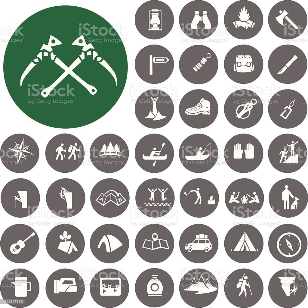 Hiking icons set. Illustration eps10 vector art illustration