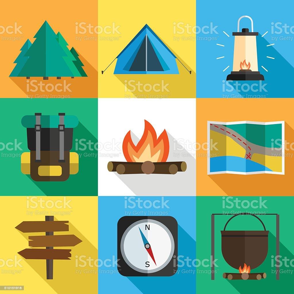 Hiking icons vector art illustration