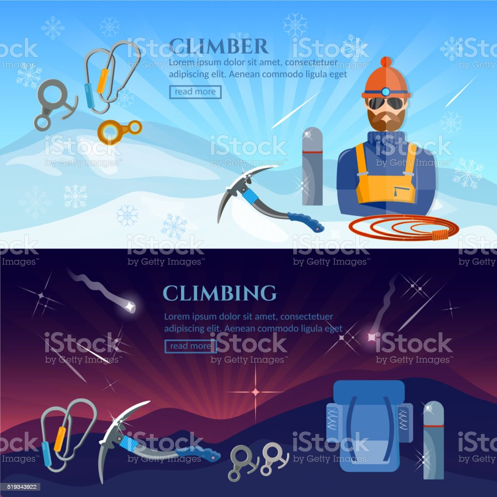 Hiking in the mountains climbers extreme sport vector art illustration