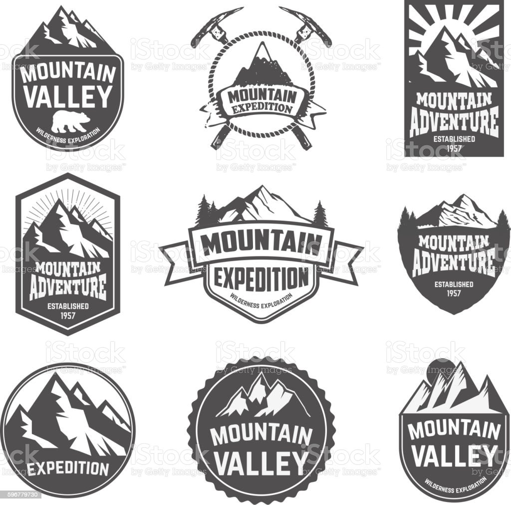 Hiking, mountains exploration labels and emblems. vector art illustration