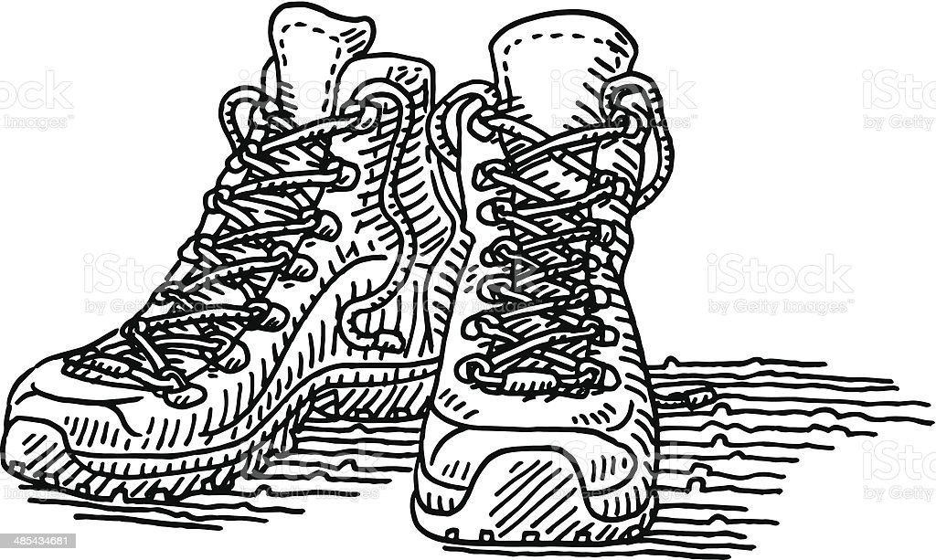 Hiking Shoes Pair Drawing vector art illustration