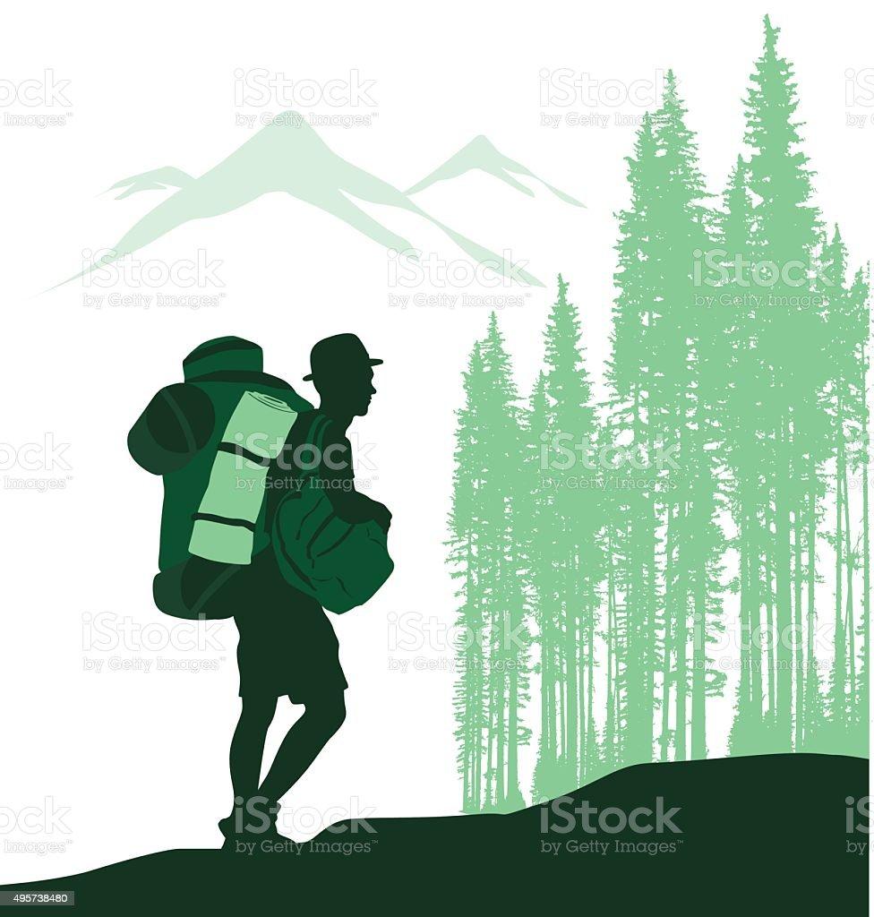 Hiking Solo vector art illustration