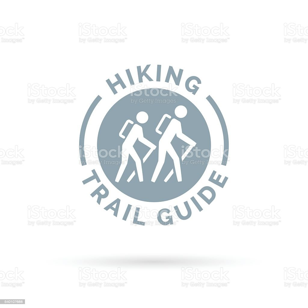 Hiking trail guide symbol with hikers icon vector art illustration
