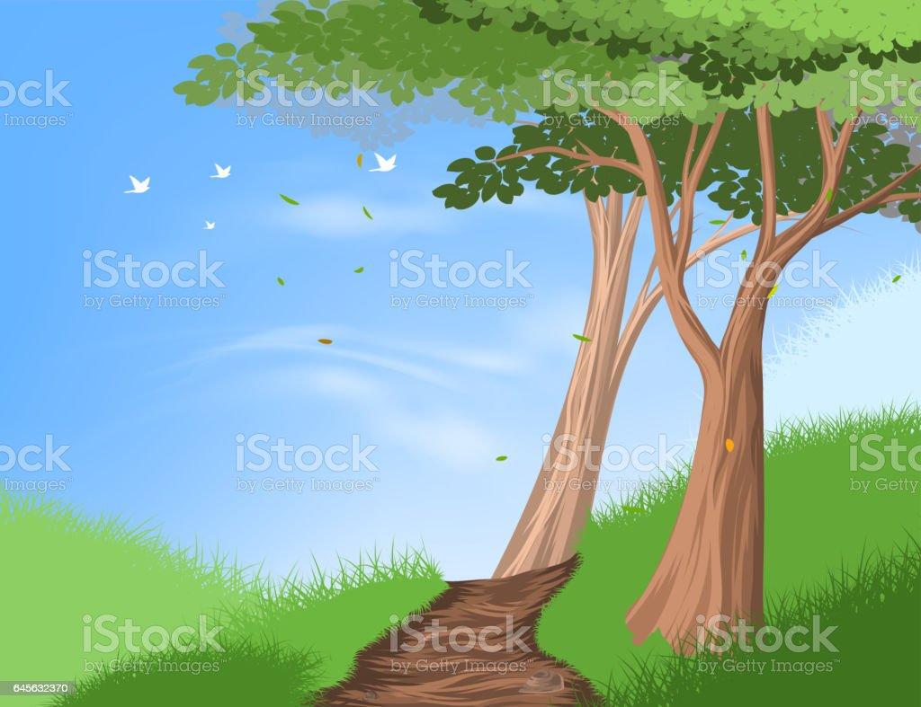 Hiking trail on hill scene vector art illustration