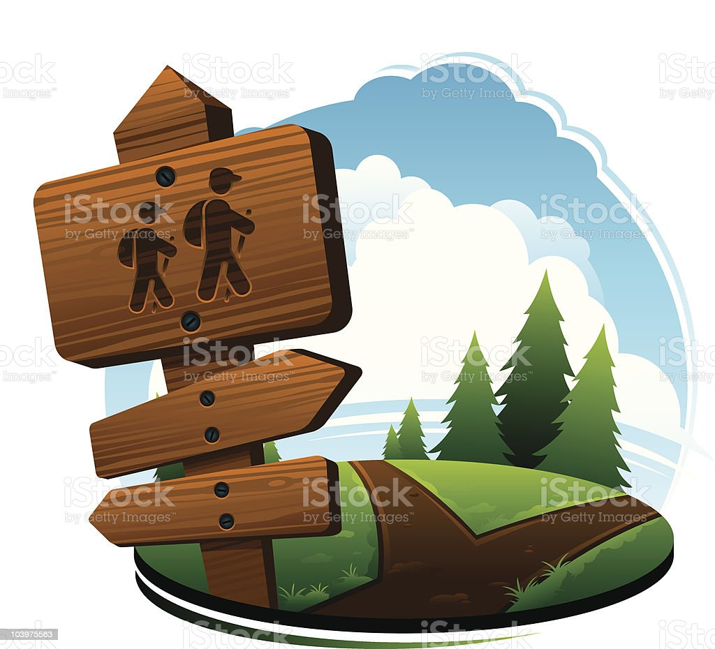 Hiking Trails In Nature vector art illustration