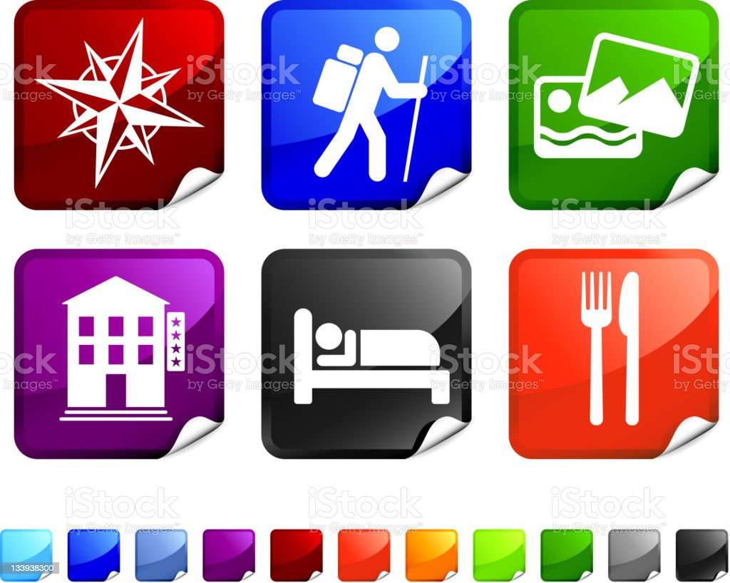 hiking trip royalty free vector icon set stickers vector art illustration