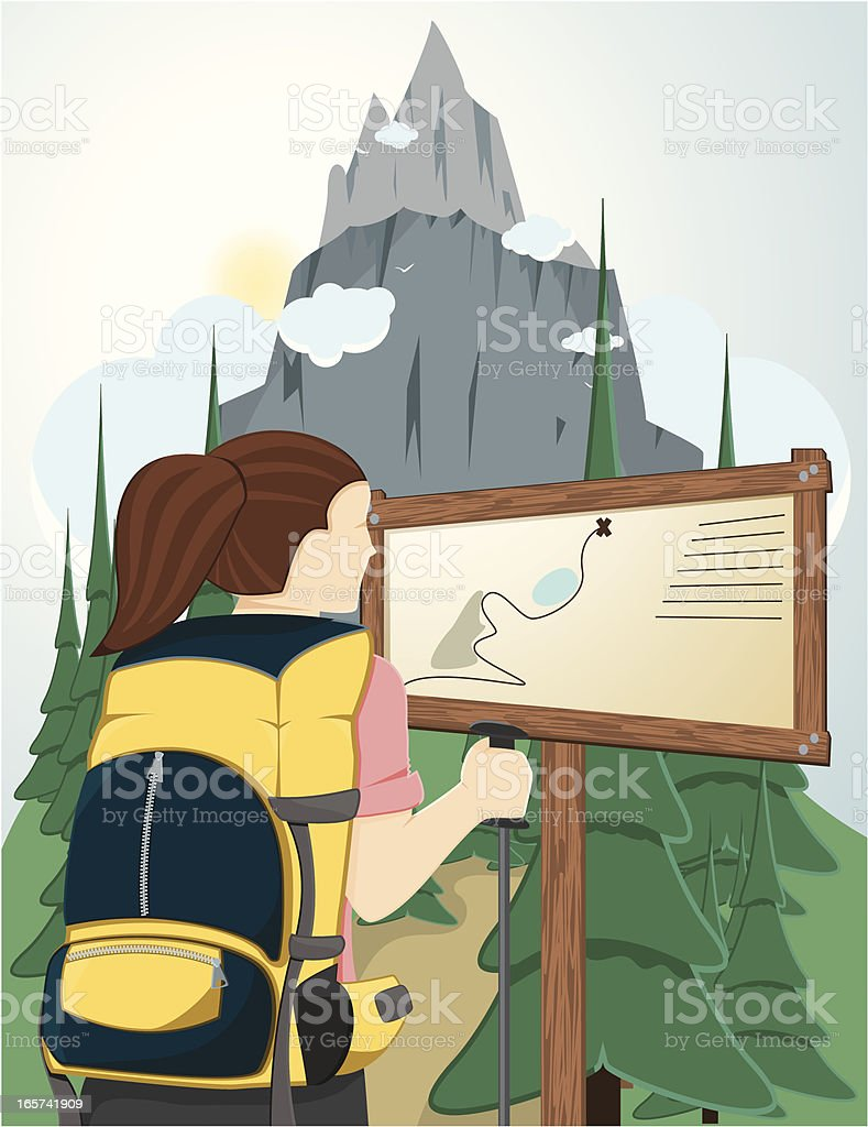 Hiking young woman. vector art illustration