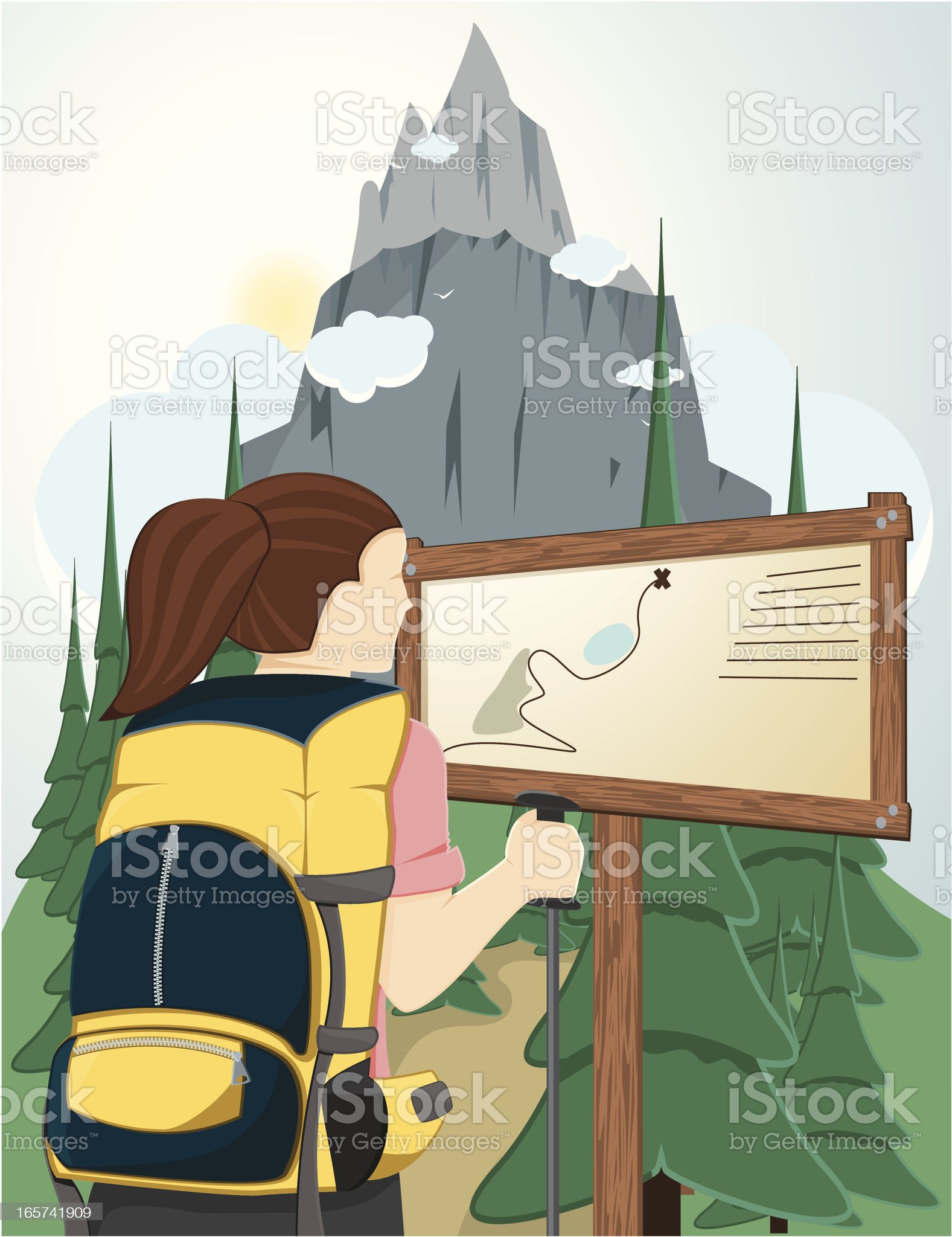 Hiking young woman. royalty-free stock vector art