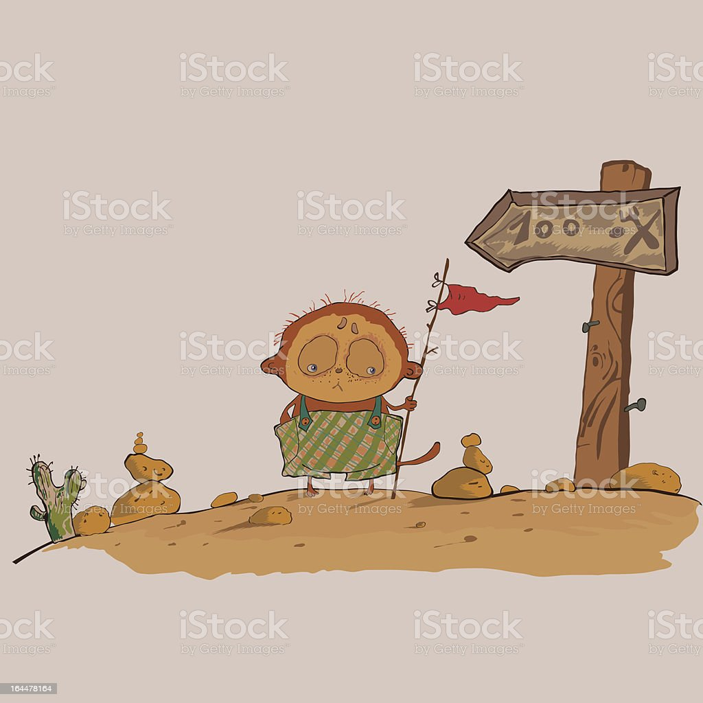 hilarious meerkats boy in the desert vector art illustration