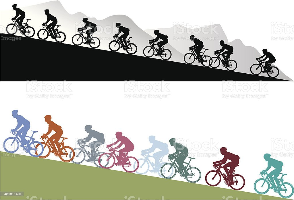 Hill climb vector art illustration