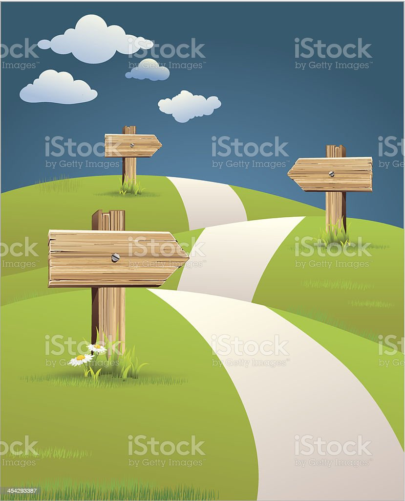 hill path with road signs vector art illustration