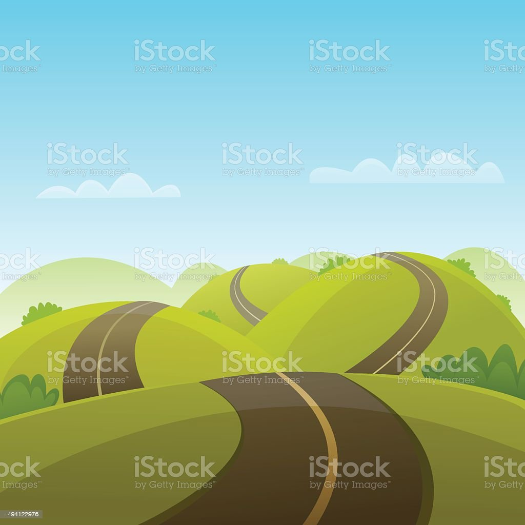 Hill Road vector art illustration