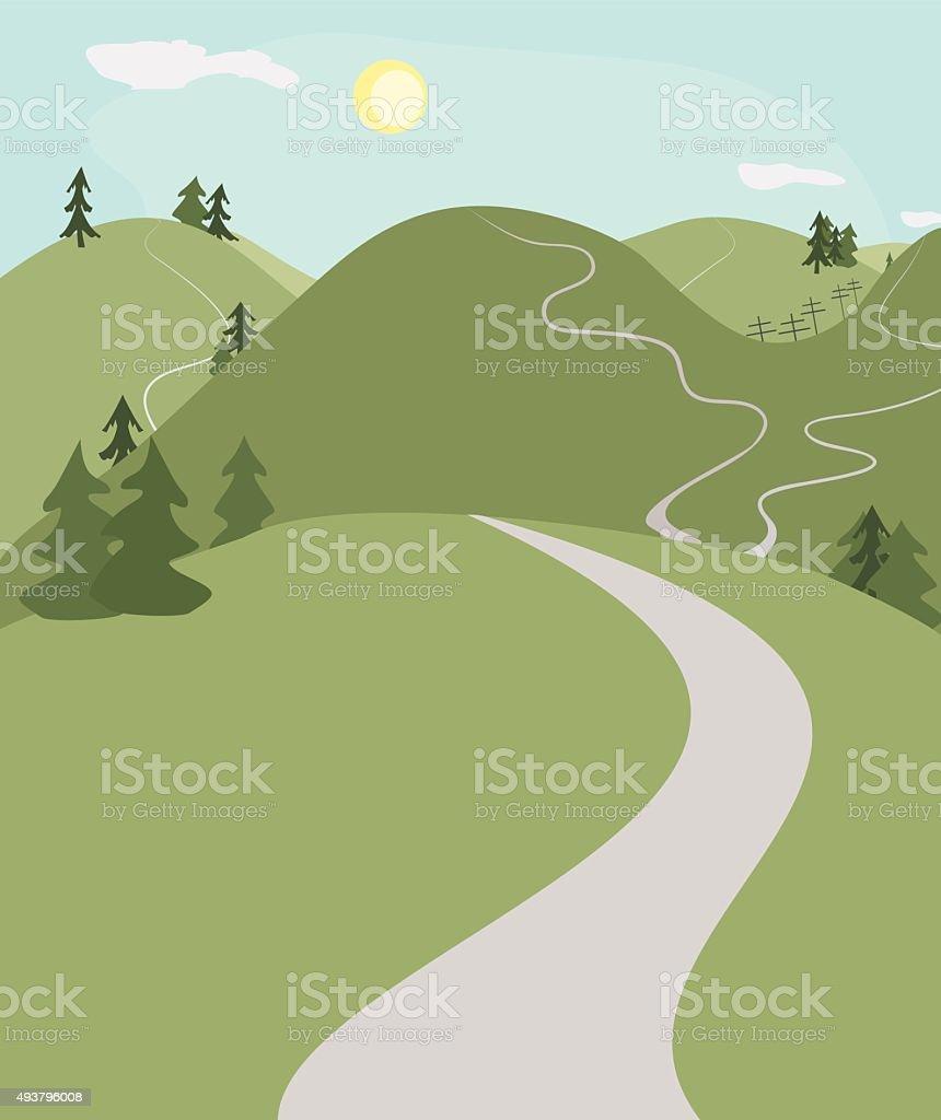 hill roads landscape vector art illustration