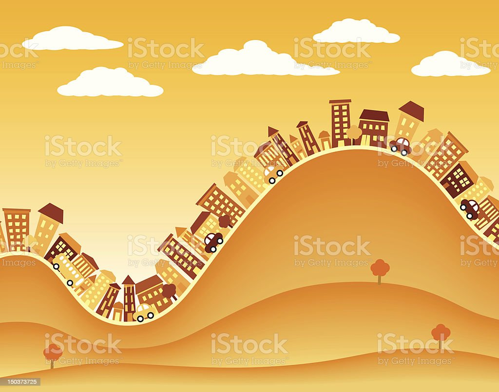 Hill town royalty-free stock vector art