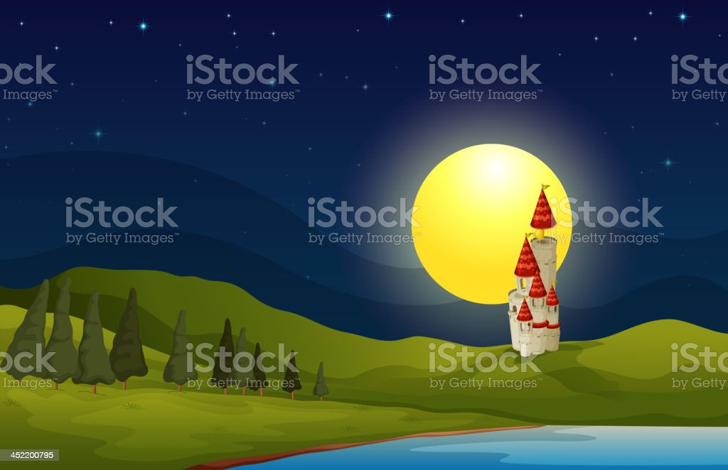 hill with a castle royalty-free stock vector art