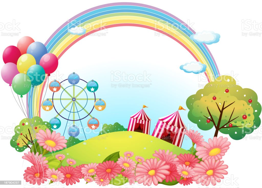 hill with circus tents, balloons and a ferris wheel royalty-free stock vector art