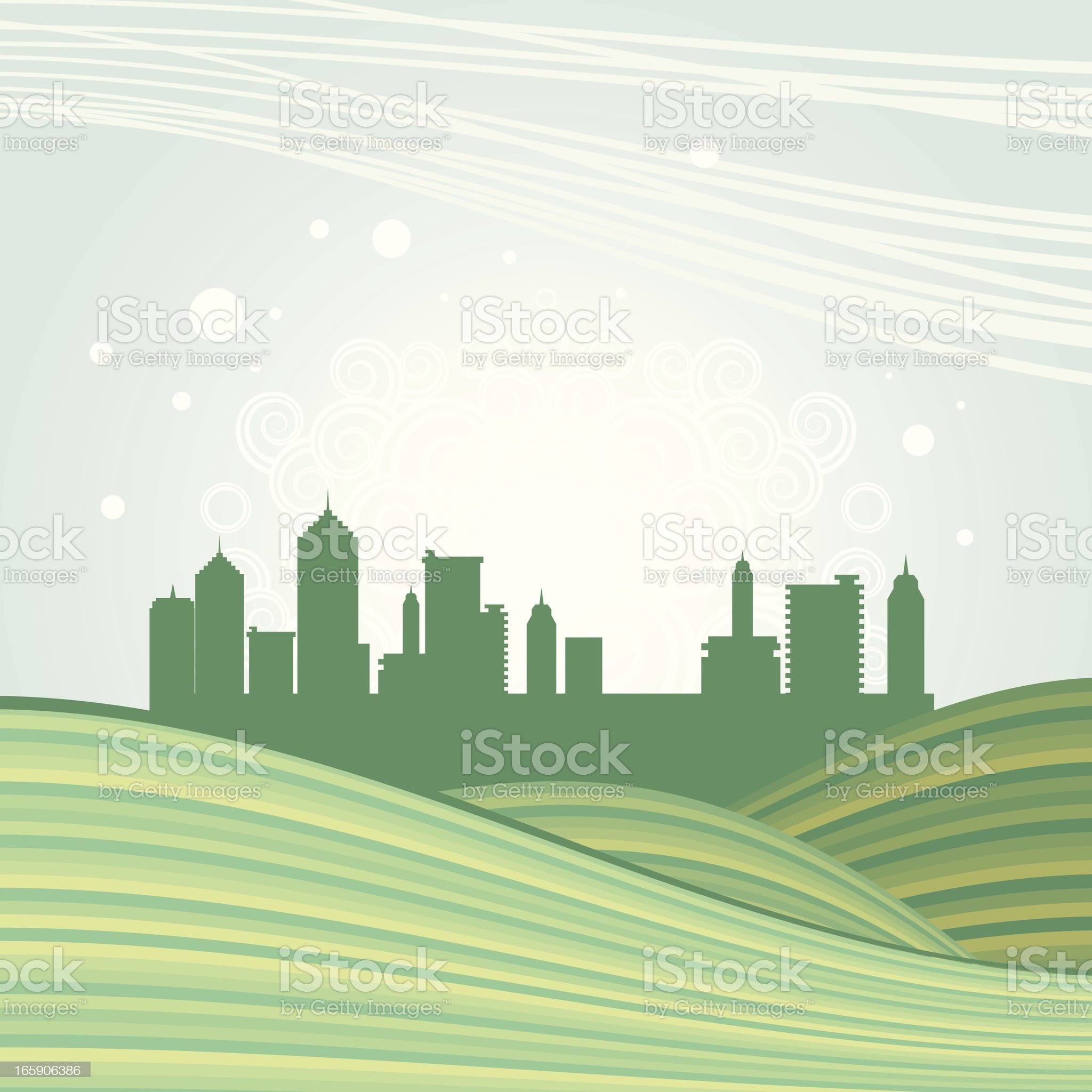Hills and green city royalty-free stock vector art