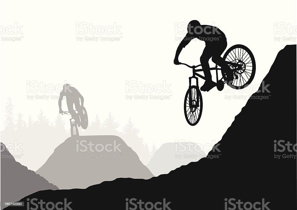 Hills BMX Vector Silhouette vector art illustration