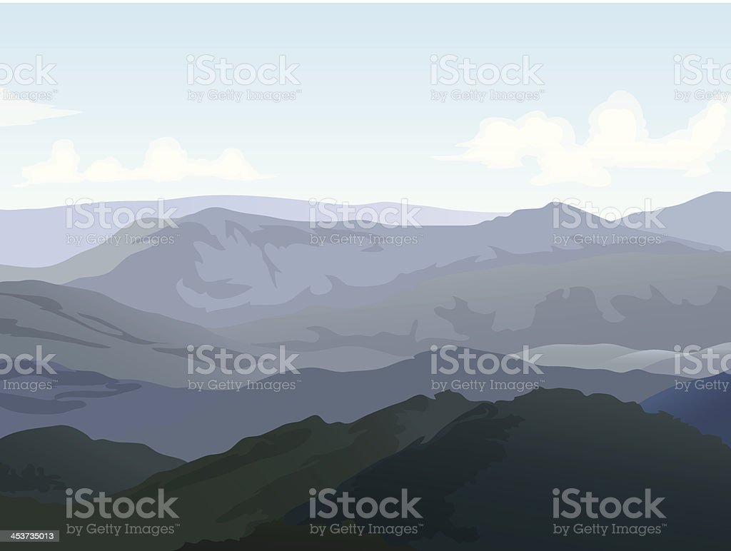 Hills landscape with cloudy sky background royalty-free stock vector art