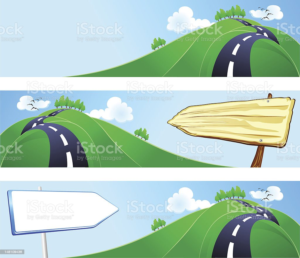 Hilly road with signs, banners royalty-free stock vector art