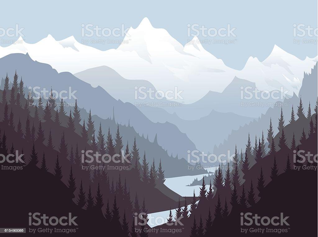 Himalayas Landscape vector art illustration