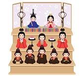 Hina doll decorating in Japanese traditional culture 'Hina Matsuri'