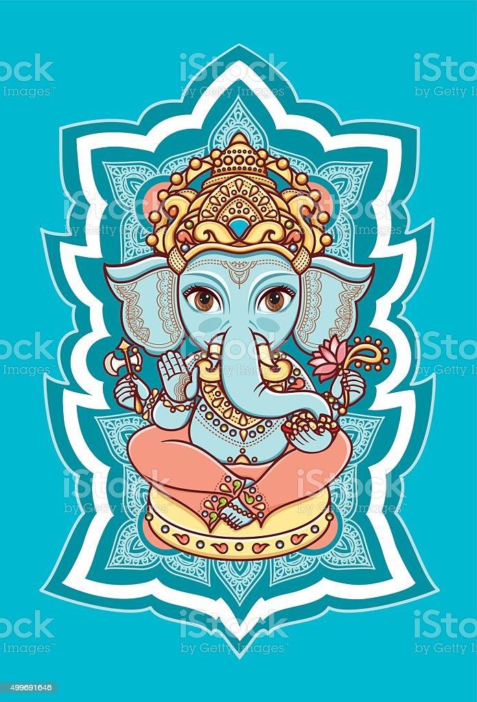 Hindu elephant God Lord Ganesh. Hinduism. vector art illustration