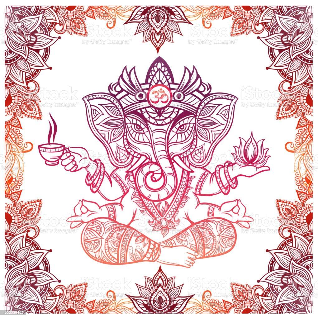 Hindu Elephant God with lotus and tea vector art illustration
