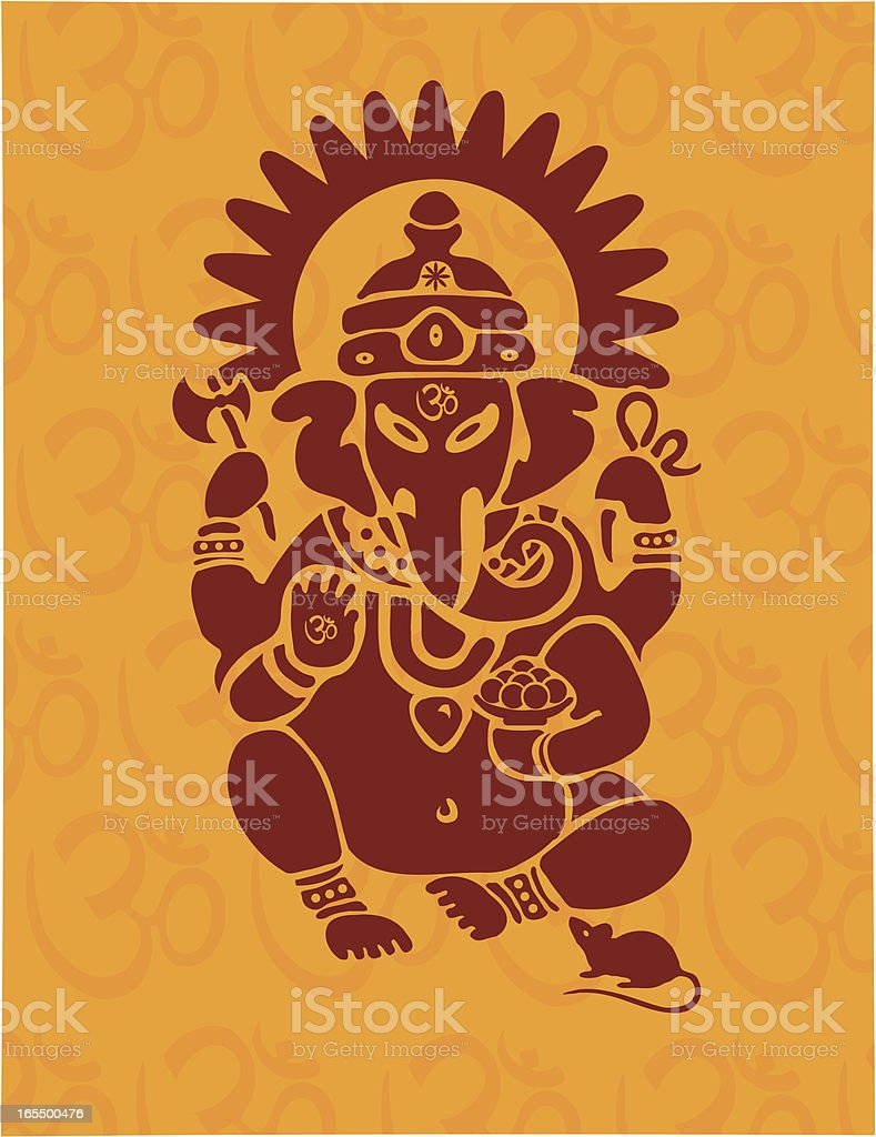Hindu Ganesh with Om vector art illustration