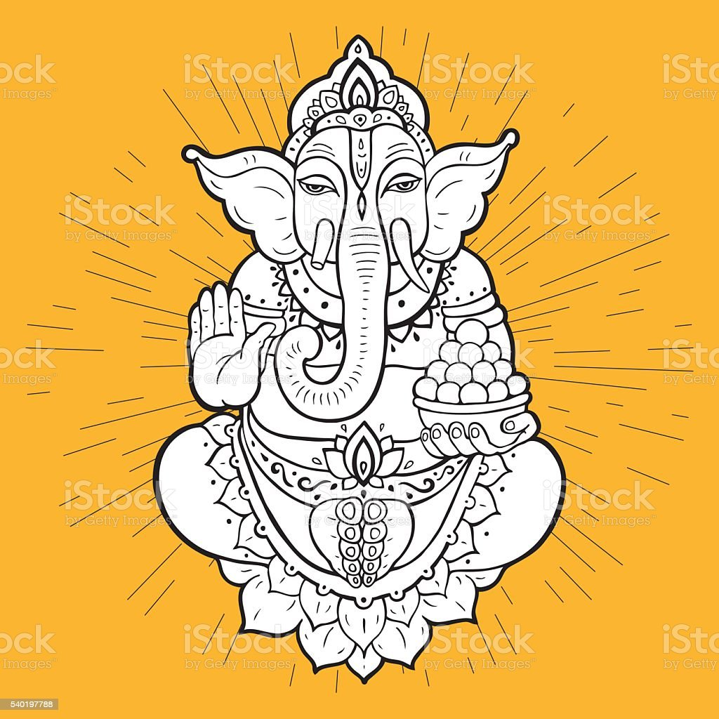 Hindu God Ganesha vector art illustration