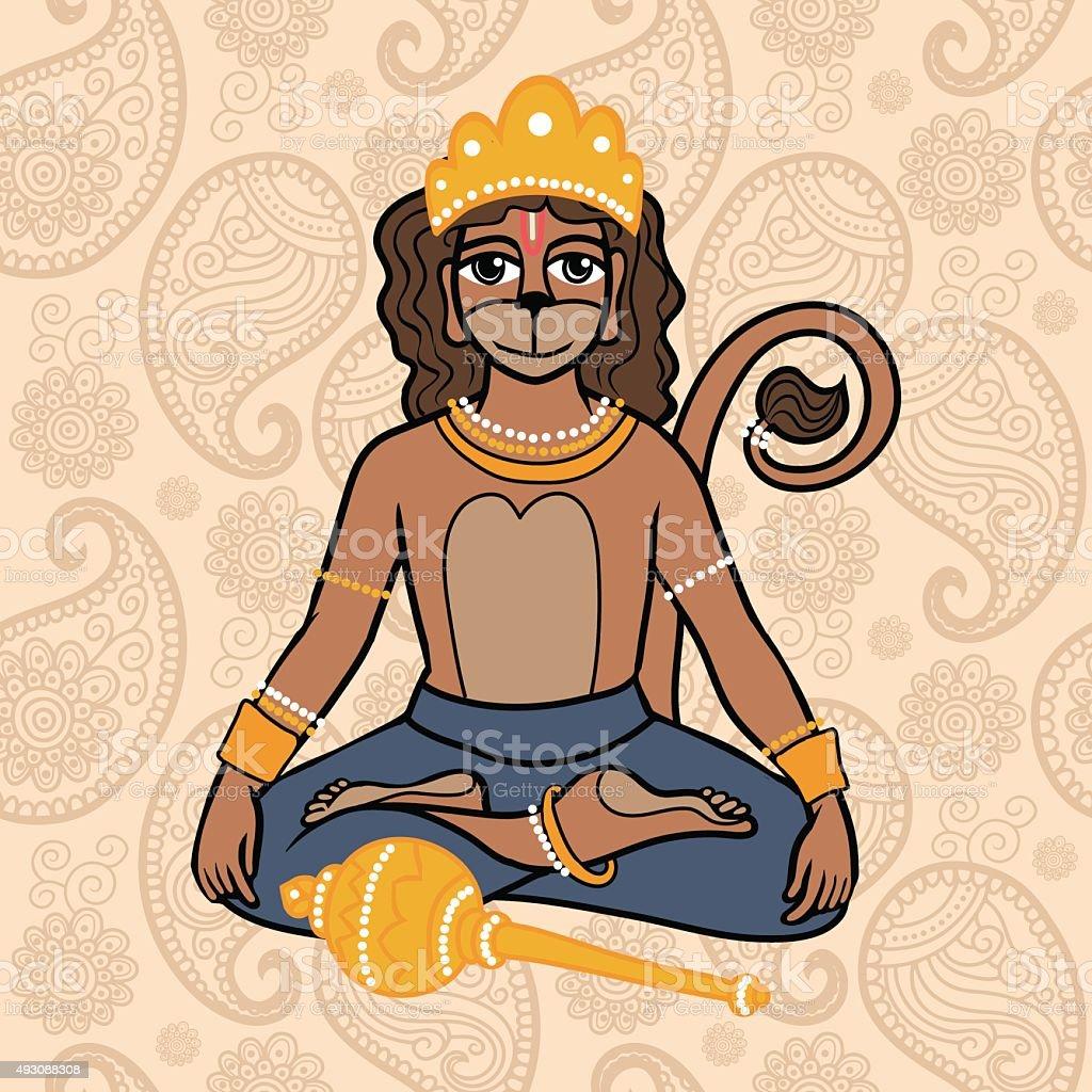 hindu god Hanuman vector art illustration