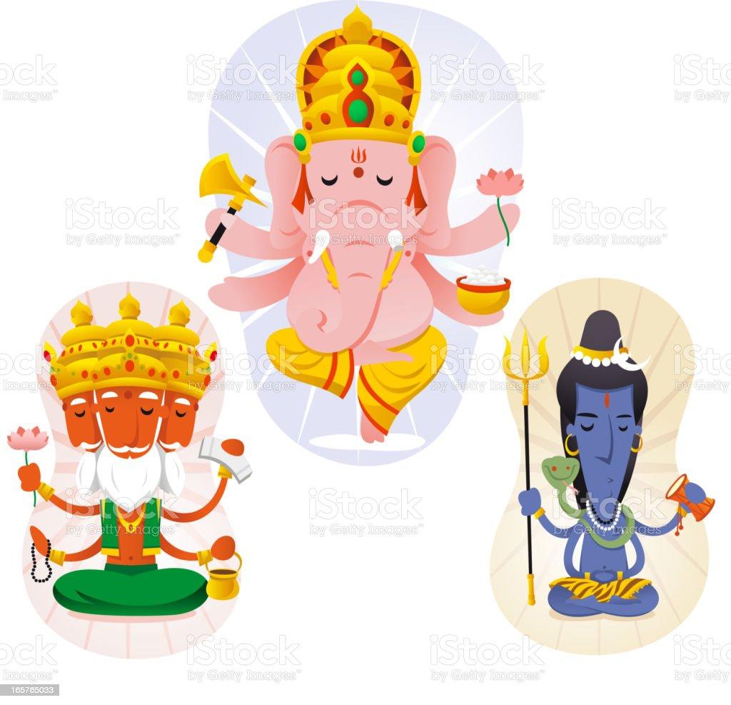 Hindu god set 1 vector art illustration