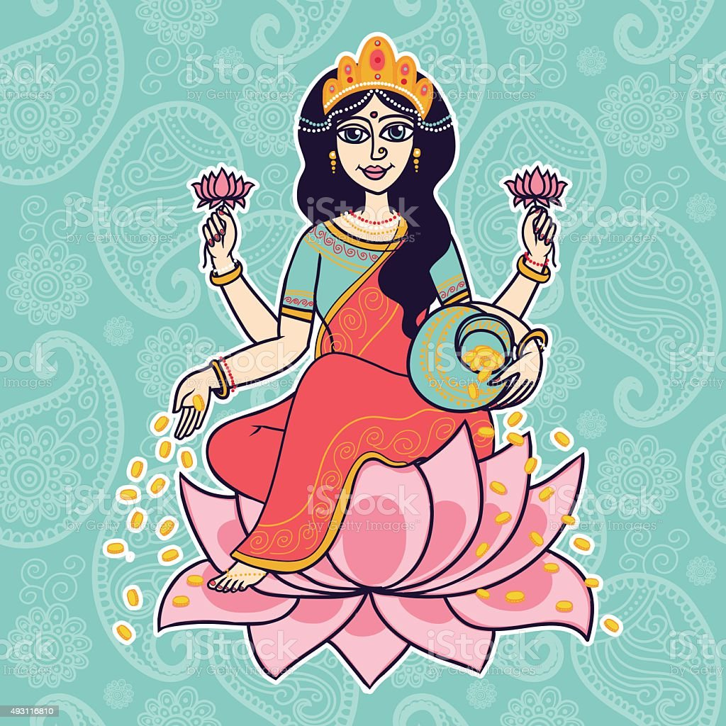 Hindu goddess Lakshmi. vector art illustration