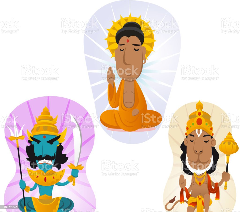 Hindu gods set 2 vector art illustration