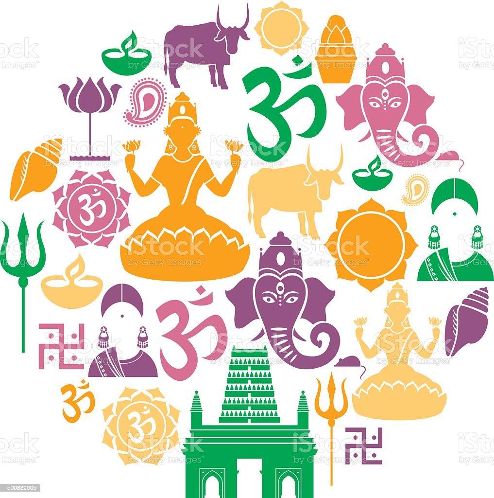 Hinduism Icon Set vector art illustration