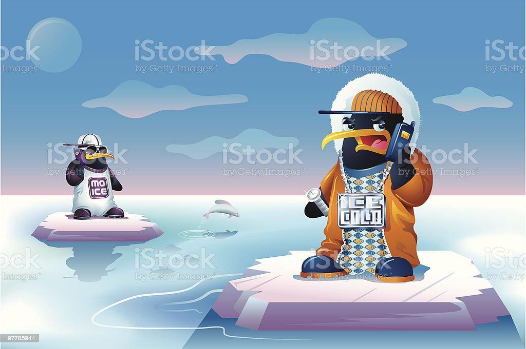 Hip Hop Bling Penguins Talking on Cellphones vector art illustration