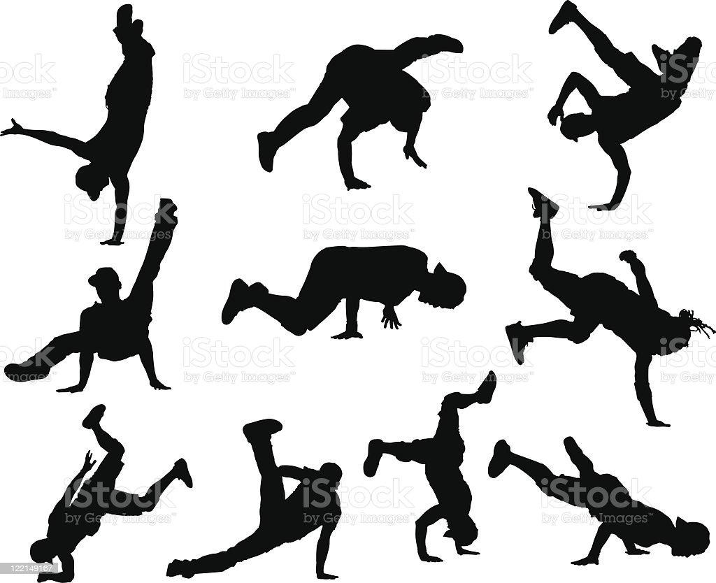 Hip Hop dancers vector art illustration