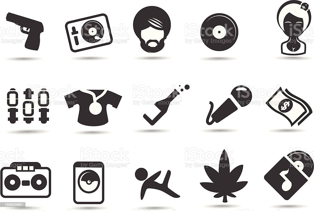 Hip Hop Icons vector art illustration