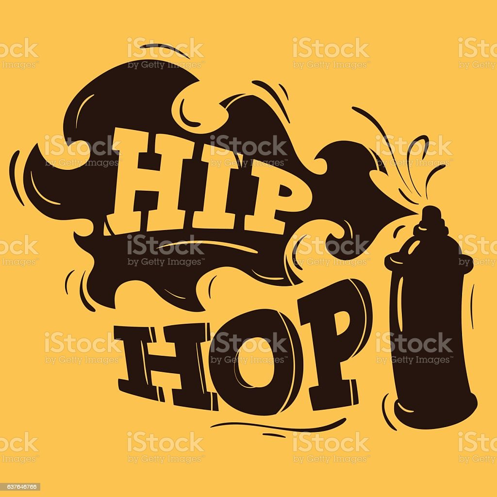 Hip Hop Label Design With A Spray Balloon Silhouette. Vector vector art illustration