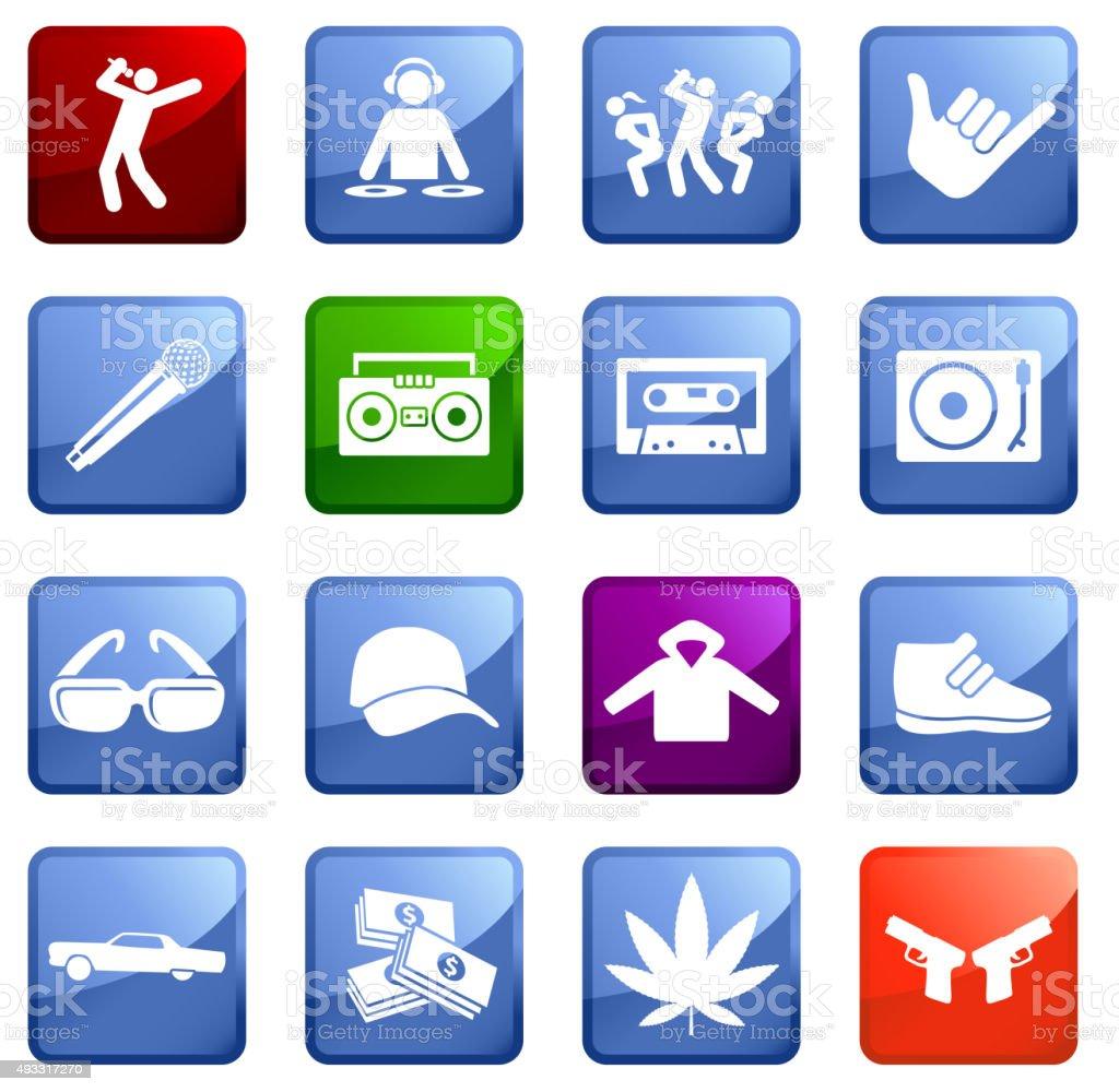 Hip Hop Lifestyle icon set on white background. vector art illustration