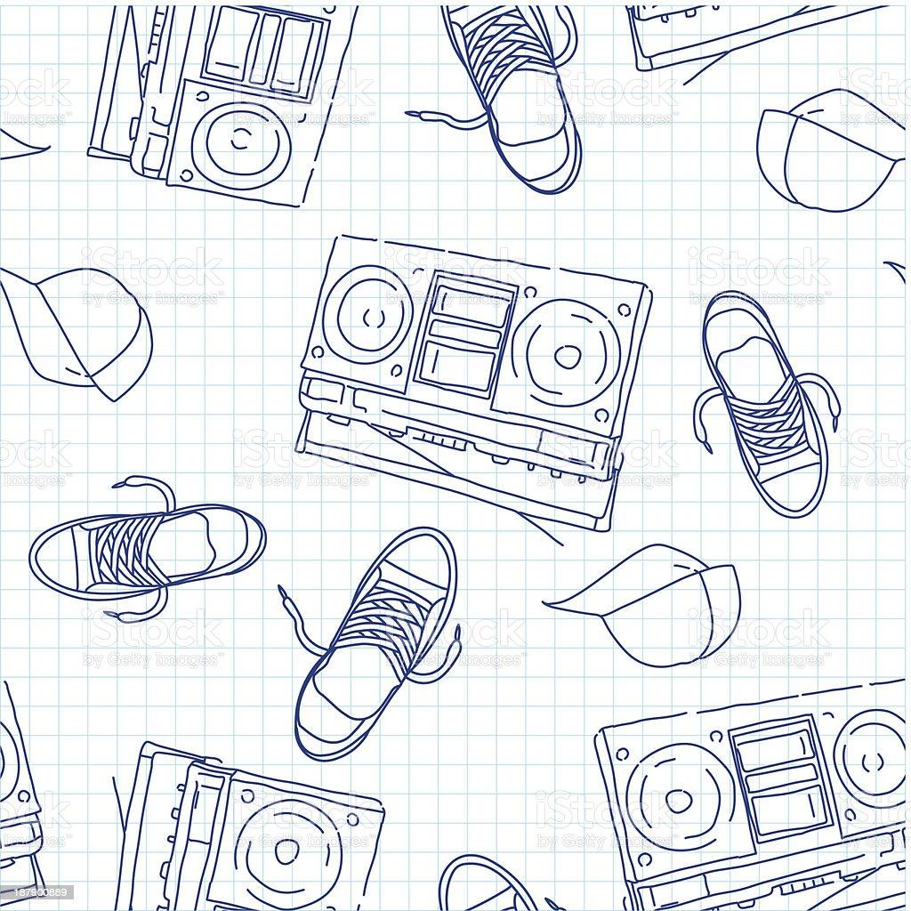 hip-hop e música padrão sem emendas vetor e ilustração royalty-free royalty-free
