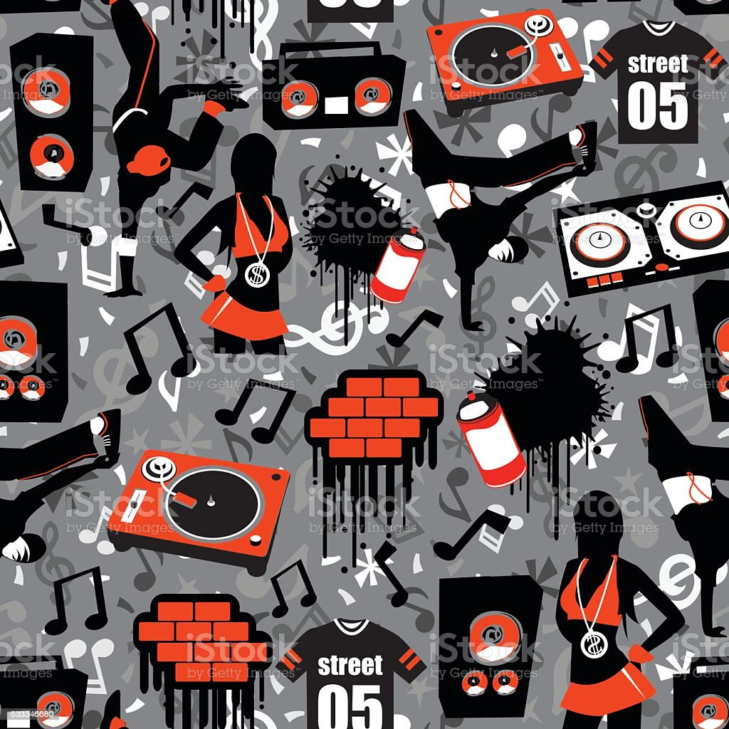 Hip Hop Street Seamless Pattern Background vector art illustration