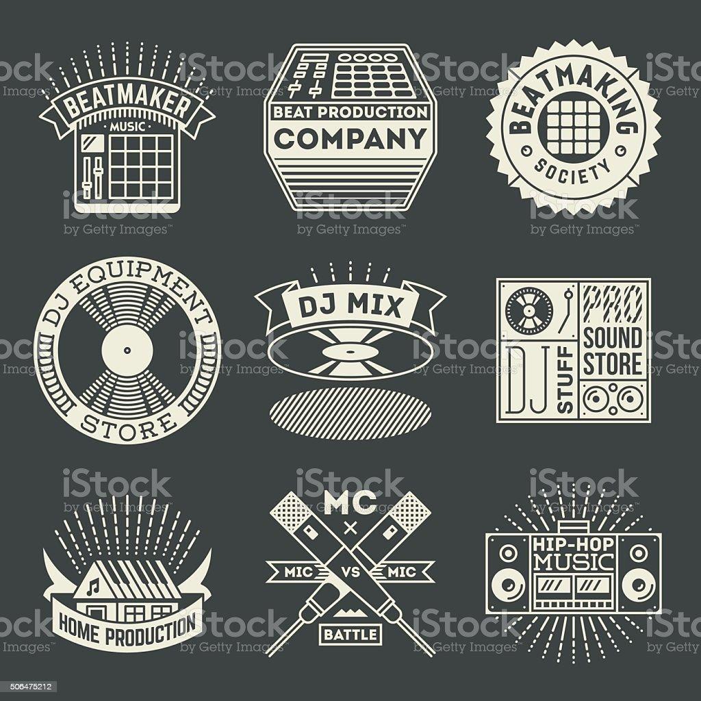 Hip-Hop Music Insignias Logotypes Template Set. vector art illustration