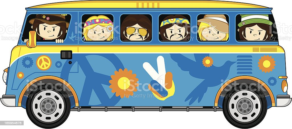 Hippie Bus and Cute Little Hippies royalty-free stock vector art