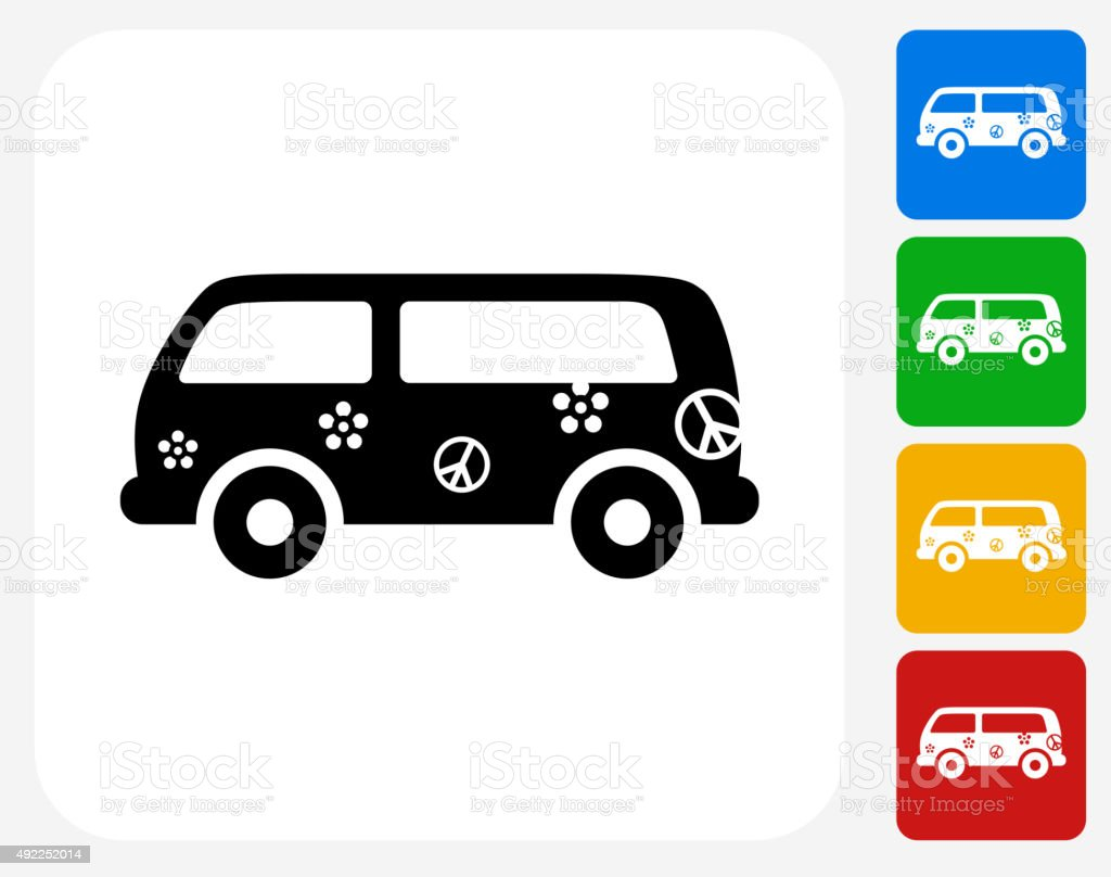 Hippie Bus Icon Flat Graphic Design vector art illustration