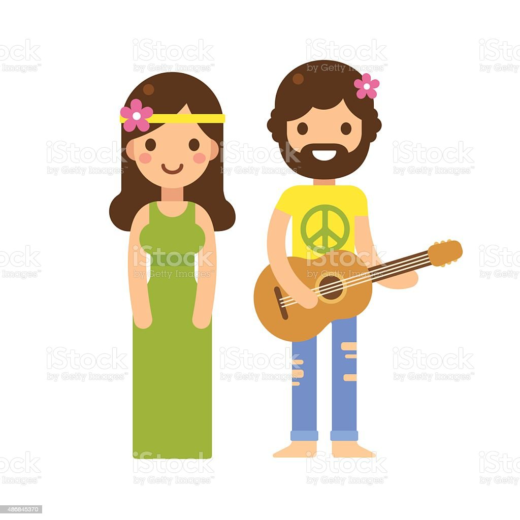 Hippie couple vector art illustration