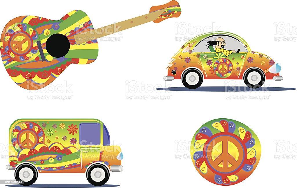 hippie design details vector art illustration
